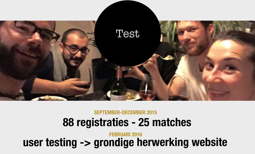 informatie over een testfase voor Dine With Us